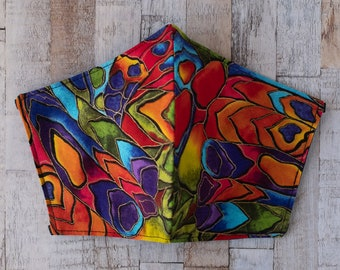 Rainbow Kaleidoscope Cotton Washable Face Mask - Handmade in the UK and Ready to Ship