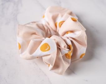 Fried Egg Hair Scrunchies in pale pink - Boho, brunch, Lolita hair accessory