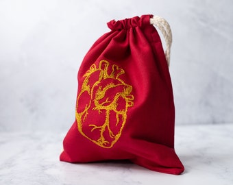 Red and Gold Anatomical Heart Drawstring Bag for tarot cards, LARP, or dice