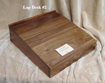 Portable #2 Lap Desk American BLACK WALNUT Writing Table Laptop I Pad Slant  Surface Storage Travel Box Original Design + 12 Blank Note Cards