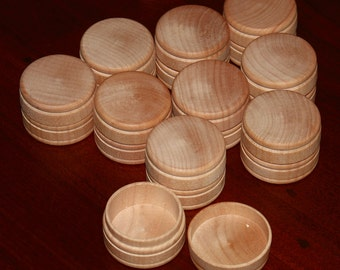 "10 Wood Boxes w/Lid SMALL Unfinished Round 1"" x 1-9/16"" Mini Wood Box ~ Pill Gift Ring Jewelry Trinket Tooth Fairy Tole Paint Wood Burn"