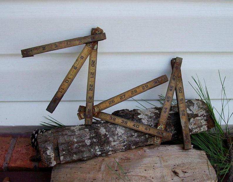 MT5 STANLEY Folding 72 Measuring Stick Ruler Vintage Wood Metal Hand Tool RESTOREDISPLAY #88 Rusty Brass Ruler~ Free Shipping!