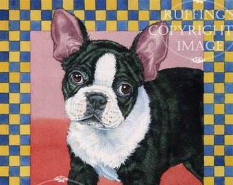 Boston Terrier Giclee Fine Art Dog Print, Blue, Red, Yellow, Gold, Checkered, Signed A E Ruffing, on 8.5 x 11 inch art paper