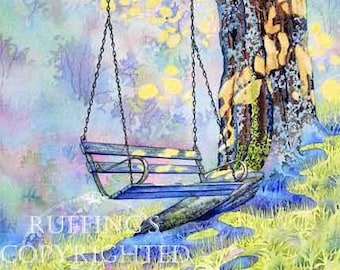 Tree Swing Scene Giclee Fine Art Print, Yellow, Blue, Green, Lavender, A Place To Dream, Signed A E Ruffing, on 8.5 x 11 inch art paper