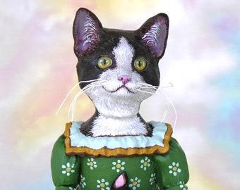 Cat Art Doll, OOAK Original Tuxedo, Hand Painted Folk Art Figurine Sculpture, Wanda by Max Bailey, Free Ship w/in USA