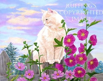 Champagne Cat with Magenta Hollyhocks and Pink Cosmos Giclee Fine Art Floral Print, Signed Elizabeth Ruffing, on 8.5 x 11 inch art paper