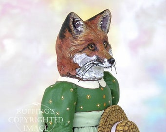 Art Doll, OOAK Original Red Fox, Hand Painted Folk Art Figurine Sculpture, Loxie by Max Bailey, Free Shipping Within The USA