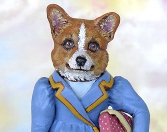 Dog Art Doll, OOAK Original Corgi, Hand Painted Folk Art Figurine Sculpture, Cassie by Max Bailey, Free Shipping Within The USA