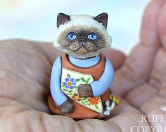 Cat Art Doll, OOAK Original Himalayan Kitten, Miniature Hand Painted Folk Art Figurine Sculpture, Maura by Max Bailey