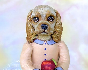Art Doll, OOAK Original Cocker Spaniel, Hand Painted Folk Art Dog Figurine Sculpture, Charlotte by Max Bailey, Free Shipping Within The USA