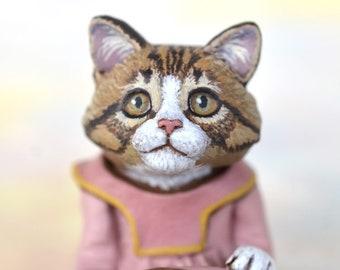 Miniature Kitty Cat Kitten Art Doll, OOAK Original Norwegian Forest Cat Hand Painted Folk Art Figurine Sculpture, Pinky by Max Bailey
