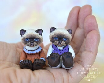 Cat Art Dolls, OOAK Original Himalayan Kittens, Miniature Hand Painted Folk Art Figurine Sculpture, Kendra and Mikey by Max Bailey
