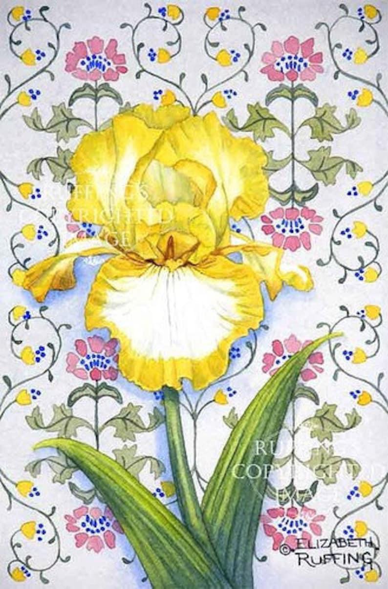 Yellow And White Iris Floral Art Nouveau Wallpaper Pattern Etsy