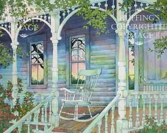 Sunday Morning Porch Scene 8.5 x 11 Giclee Fine Art Print Signed A E Ruffing