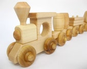 Wooden Toy Train Set 6 Cars, natural wood toy