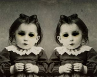 Creepy Twins Halloween Art Print Black and White Gothic Halloween Decor, 7x7 on 8.5 x 11 Inch Paper, Creepy Artwork