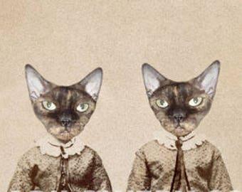 Cats in Clothes 8 x 10 Inch Print, Animals in Dress, Devon Rex Cats, Collage Art Print, Anthropomorphic Animal Portrait, frighten