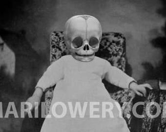 Creepy Halloween Art, Oddities, 8.5 x 11 Inch Print, Black and White, Skull Art, Macabre, Halloween Decor, frighten
