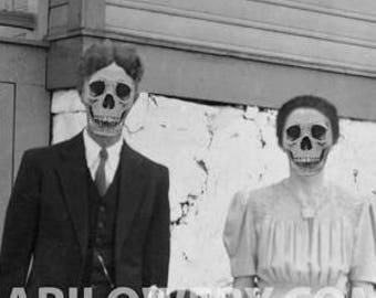Halloween Wall Decor Creepy Art Print Black and White Skeleton Family 8.5 x 11 Inch Macabre Decor Skull Art Print