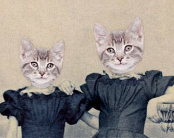 Cat Art Print, Cats in Clothes, Mixed Media Collage, 5x7 Inch Print, Kitten Girls, Gift for Sister, Nursery Decor, frighten