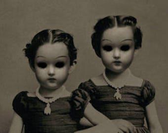 Halloween Decor, Creepy Twin Doll Girls, 8x10 Inch Art Print, Horror Decor, Mixed Media Collage, Halloween Wall Art, frighten