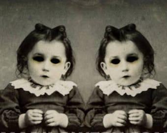 Halloween Wall Art, 8x10 Inch Print, Creepy Twins Art, Black and White, Horror Decor, Halloween Decor, frighten
