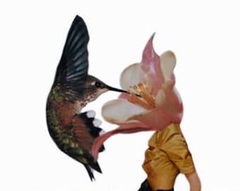 Surreal Art Print, Floral Decor, Hummingbird Art, 8x10 Inch Paper Collage Print, Bohemian Decor, frighten