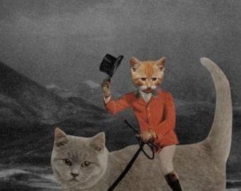 Orange Cat Art Paper Collage Print, Retro Art, 8.5 x 11 Inch Print, Animals in Clothes, Anthropomorphic, Weird Wall Decor, frighten