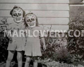 Creepy Halloween Wall Decor Black and White Girls in Skull Masks 11 x 8.5 Inch Halloween Wall Art Print, frighten