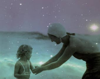 Mother and Child Swimming in Ocean Celestial Purple and Aquamarine Mixed Media Collage 11 x 8.5 inch Art Print, frighten