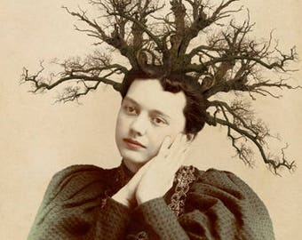 Surreal Art Print, 8 x 10 Inch Print, Victorian Woman with Tree Branches in Hair, Unusual Nature Mixed Media Collage, frighten