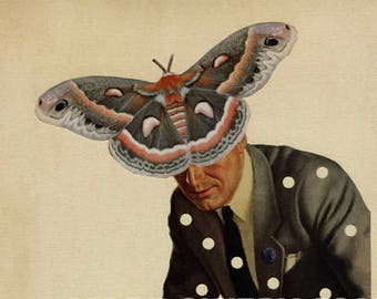 Surreal Art Mid Century Man Moth Art Tan and Gray 8.5 x 11 Inch Paper Collage Print, Butterfly Art Gift for Men