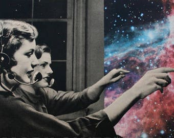 Surreal Art Celestial Space and Stars Art, Retro Paper Collage Print, 7x7 on 8.5 x 11 inch paper