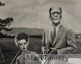 Halloween Decor Frankenstein Monster and Bride of Frankenstein Mixed Media Collage Print, 7x7 on 8.5 x 11 Inch Paper