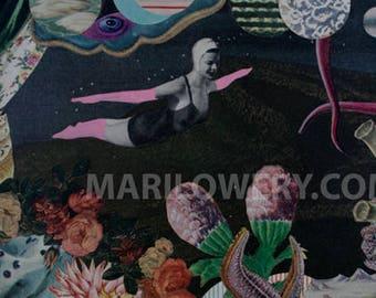 Surreal Art Paper Collage Print, Dark Floral Art, 11 x 8.5 Inch Print, Space Garden Art, Unusual Wall Decor, frighten