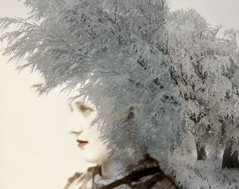 Avante Garde Surreal Art Print, 8.5 x 11 Inch Fairytale Collage Art Print, Ice Queen Altered Portrait