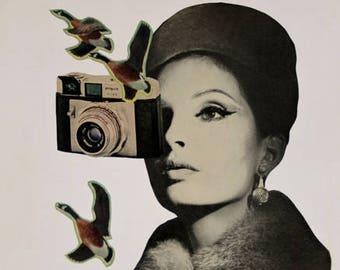 Vintage Camera Art, 8.5 x 11 inch Print, Surreal Art, Retro Decor, Paper Collage Print, Altered Portrait, Beautiful Woman, frighten