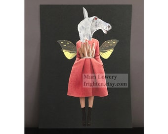 Bohemian Art 9 x 12 Inch Black and Coral Paper Collage, Surreal Art Woman with Horse Mask Unusual Fashon Art