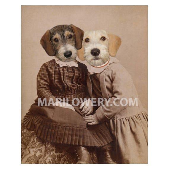 jack russell terrier dog artwork at the salon 8x10  dog art print