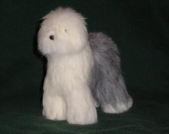 Old English Sheepdog needle felted dog example custom made to order