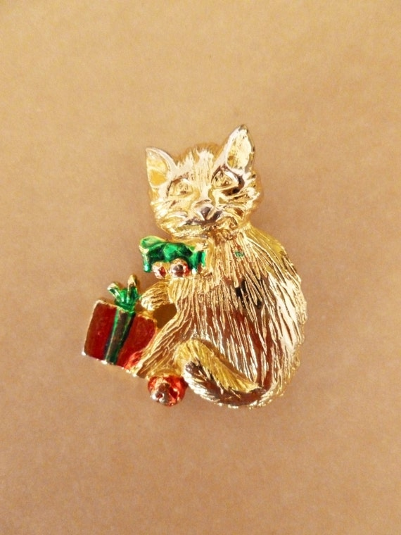 Vintage Christmas Kitty Cat Pin Holiday Brooch Etsy