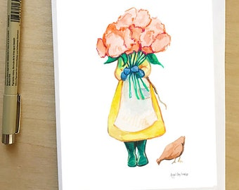 Gardener with flowers, greeting card by Abigail Gray Swartz, 5x7 floral and fauna