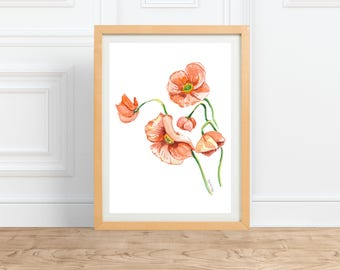 Orange Poppies || watercolor Floral Print || by Abigail Gray Swartz