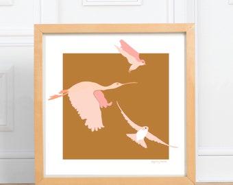 Birds in Flight square print    digital illustration Print, pink and ochre, home decor    by Abigail Gray Swartz