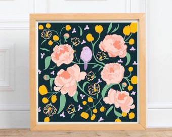 Birds and Peonies square print    digital illustration Print, home decor    by Abigail Gray Swartz