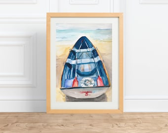 Rowboat, sailing painting || watercolor print || by Abigail Gray Swartz