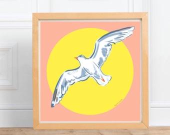 Seagull in the Sun square print    digital illustration Print, home decor    by Abigail Gray Swartz