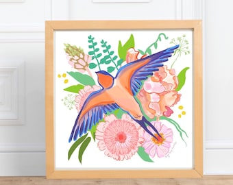 Swallow and flowers square print    digital illustration Print, pink and ochre, home decor    by Abigail Gray Swartz