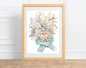 Knitting Sheep || watercolor animal portrait Print || by Abigail Gray Swartz
