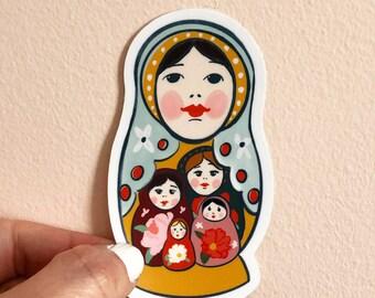 Nesting Doll sticker, labtop decor, illustrated sticker, by Abigail Gray Swartz